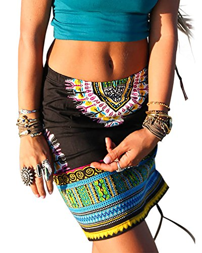 59519ba2383e Dellytop Women Above Knee Drawstring Ethnic Totem Print African Dashiki  Pencil Skirt