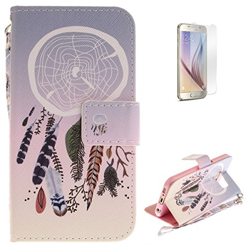 Samsung Galaxy S6 Flip Magnetic Leather Case [Free Screen Protector] KaseHom Elegant Dreamcatcher Painted Design Folio Wallet Case with [Card Slot] [Hand Strap] Slim Protective Cover Holster