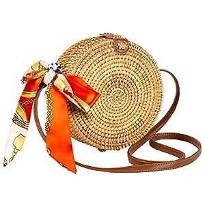 Round Rattan Bag for Women Lefur Handwoven Straw Bag Beach Crossbody Purse with Shoulder Straps Lined Boho Handbag 26