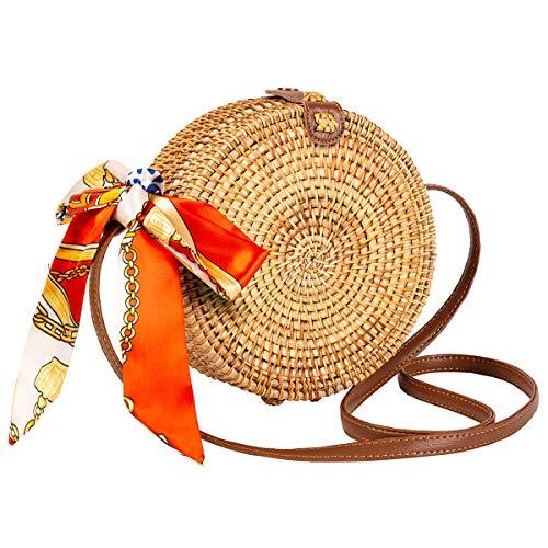 Handmade Rattan Bag Lefur Round Handwoven Straw Bag for Women Leather Boho Button Shoulder Crossbody Purse with Handles handbag