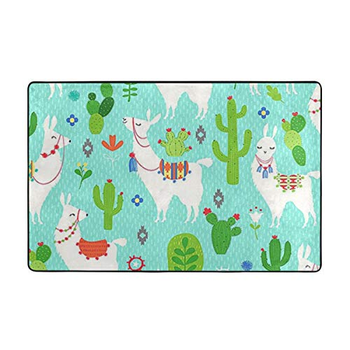 Llama and Cactus Carpet 60 X 39 in,Soft to Touch, Fine Down, Not Ball, Not Fade,Non-Slip, Durable