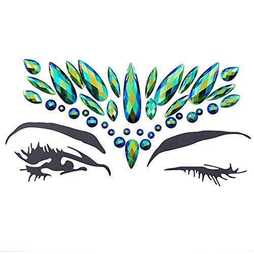 - eco-Friendly Glitter face Crystal Sticker Rhinestone Eye Crystal Sticker Forehead nacklace (Emerald ab/J100)