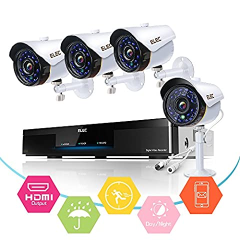 ELEC 8CH 1080N AHD In/Outdoor Home Security Camera System CCTV Monitoring Video Surveillance DVR Kit with 4Pcs 2000TVL IP66 65Feet Night Vision Cameras Remote Access Motion Alerts [No Hard - Wireless Outdoor Infrared Camera