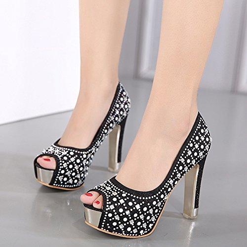 LvYuan-mxx Zapatos de los altos talones de las mujeres / verano del resorte / plataforma baja impermeable boca pura mano-moldeada Rhinestones los zapatos de la dama de honor / oficina y carrera Banque BLACK-39