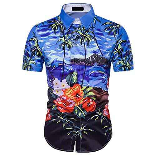 (Men's Hawaiian Flower Printed Relaxed-Fit Shirts Casual Button Down Short Sleeve Shirt Holiday Beach Aloha Blouse by Leegor Blue)