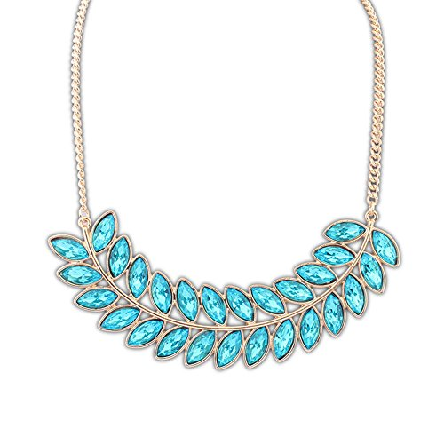The Starry Night Blue Ancient Drop Crystal Style Salix Leaf Temperament Single Necklace Suitable Females - Taylor Pendant Kit
