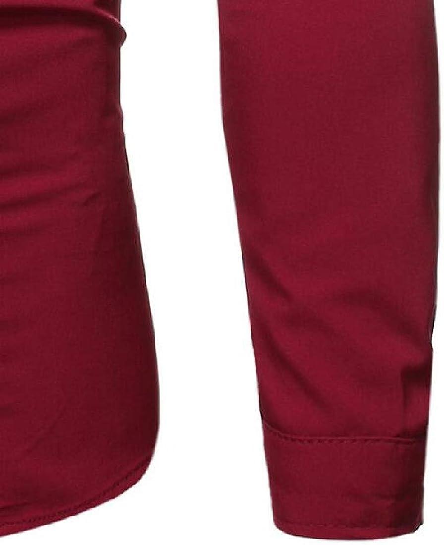 Rrive Mens Shirts Button Down V Neck Plain Long Sleeve Loose Dress Work Shirt