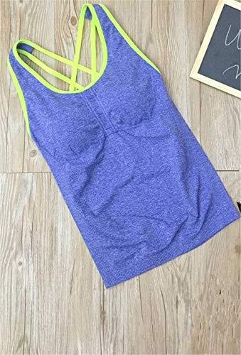 SGYHPL Frauen Pro Gym Sport Tank Mit Brustpolstern T-Shirt Yoga Workout Weste Fitness Training Übung Laufbekleidung Compress Tee Top L Blau Grüne Linie