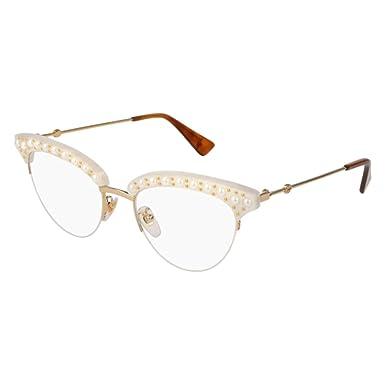 39fc7e87d5e Amazon.com  Eyeglasses Gucci GG 0213 O- 003 WHITE GOLD  Clothing