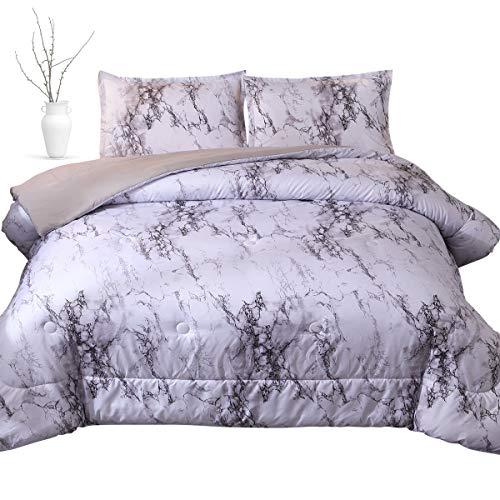 - PomCo Marble Comforter Queen (90x90 Inch), 3Pcs(1 Marble Comforter & 2 Pillowcases) Grey Marble Print Microfiber Bedding Set, Modern Marble Pattern Comforter Set for Men, Women, Boy, Girl