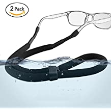 Adjustable Sports Sunglasses Safety Holder Floating Retainer Strap Eyewear Retainer, Black, Pack of 2