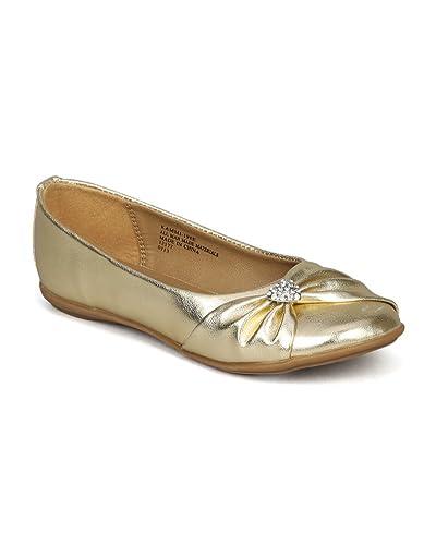 Little Angel Girls Kammi-191E Flats Shoes,Gold,9