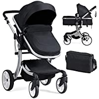 BABY JOY Baby Stroller, 2-in-1 Convertible Bassinet Sleeping Stroller, Foldable Pram Carriage with 5-Point Harness, Including Rain Cover, Net, Cushion Pad, Foot Cover, Diaper Bag