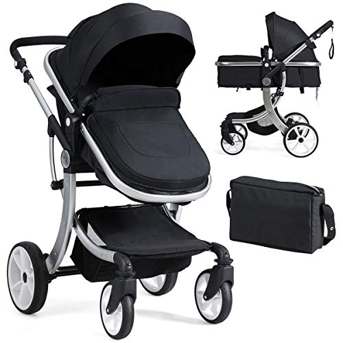 BABY JOY Baby Stroller, 2-in-1 Convertible Bassinet Sleeping Stroller, Foldable Pram Carriage with 5-Point Harness, Including Rain Cover, Net, Cushion Pad, Foot Cover, Diaper Bag (Black)