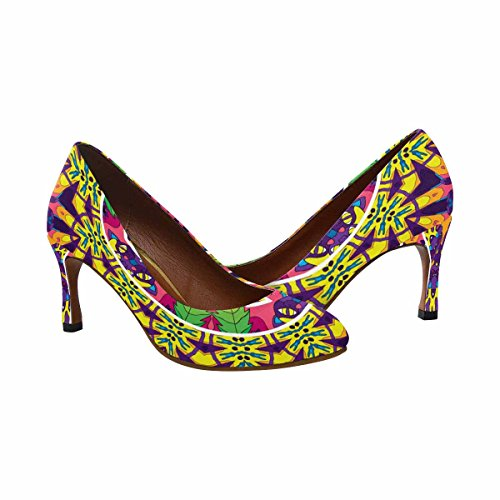 Cats InterestPrint Womens High Symbol Classic Fashion Dress Heel Hippie Pump Jungle Peace Fz4Fr