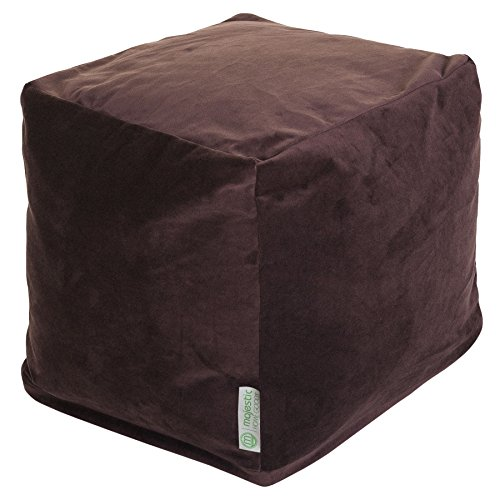 Majestic Home Goods Chocolate Velvet Indoor Outdoor Bean Bag Ottoman Pouf Cube 17 L x 17 W x 17 H