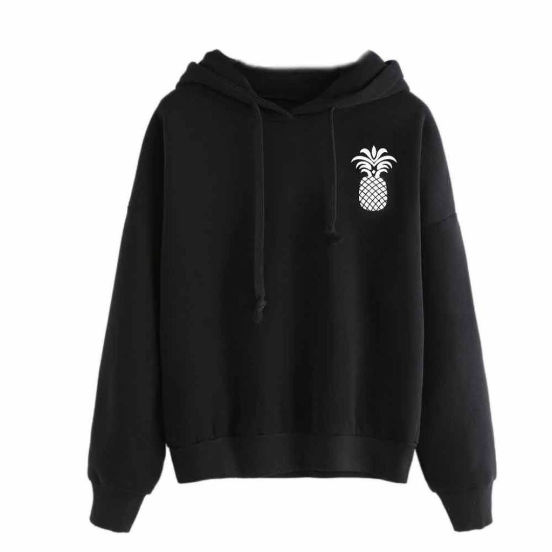 Napoo Women Pullover Sweatshirt, 2017 New Pineapple Print Black Hooded Drawstring Cotton Sweatshirt (S, Black) by Napoo