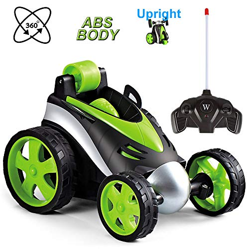 LANKEE Remote Control Car for Boys,RC Stunt Car for Kids,360 Degree Rotation,Upright Driving,Safe Durable ABS Material,RC Car Birthday Gife for Child Aged 4 to 10,Green