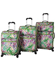 Lucas Luggage Set Printed Softside 3 Piece Lightweight Expandable Suitcase with Spinner Wheels