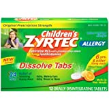 Zyrtec Childrens Citrus Allergy Dissolve Tabs - 12 per pack -- 24 packs per case.