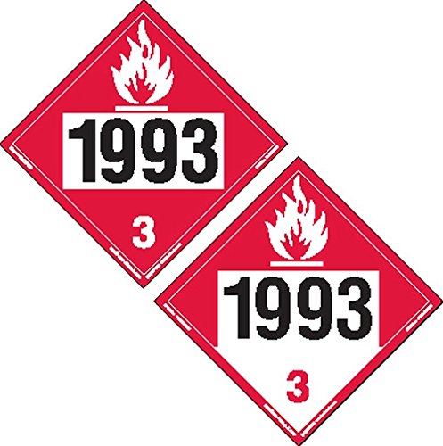 Labelmaster ZTV299393 Two-Sided 4-Digit Hazmat Placard, 1993 Flammable/1993Combustible, Rigid Vinyl (Pack of (4 Digit Label Printer)