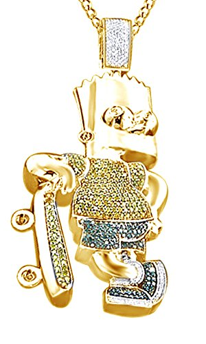 Round Cut Simulated Multi Color CZ Men's Hip Hop Bart Simpson Pendant In 14k Yellow Gold Over Sterling Silver by AFFY