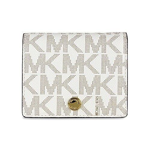 Michael Kors Signature Print Jet Set Travel Flap Card Holder (Vanilla) Lux Mini Wallet