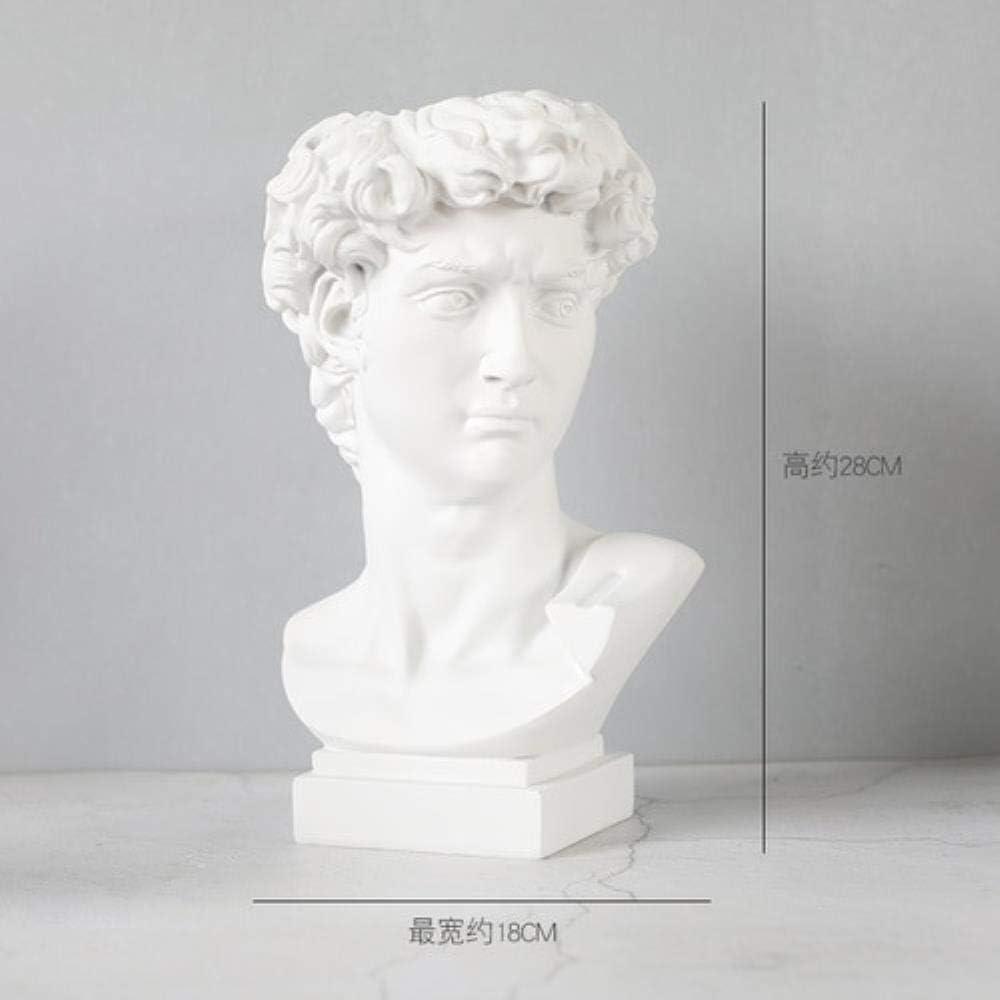 Blanc Cr/émeux THREE Michelangelo David t/ête de r/ésine Portrait Vase Statue Creative Bureau D/écoration Fleurs Cylindre