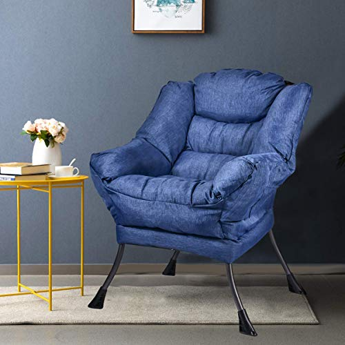 Grepatio Modern Sofa Chair, Steel Frame Accent Lounge Chair Leisure Sofa Chair, Comfortable Lazy Chair with Side Pockets, Thick Padded Back,Blue