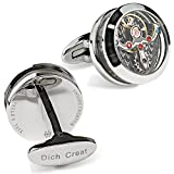 Dich Creat Stainless Steel Open Side Cage Jeweled Titanium Tourbillon Cufflinks With Carbon Fiber Inlay