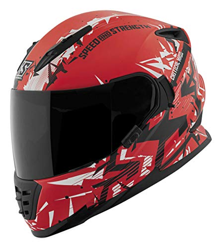 Speed and Strength Men's SS1600 Critical Mass Street Motorcycle Helmet - Matte Red/White/Black / Small