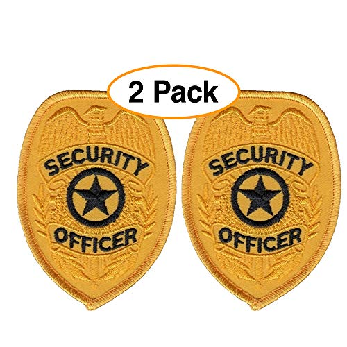 - 2 Pack - Security Officer Guard Badge Patch Embroidered, Oval Gold