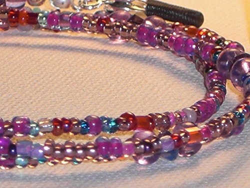 Magenta Beaded Eyeglass Chain Fuscia Purple Aqua Mix Glass Seed Beads 28 inches Fancy - Strings Beaded Spectacle