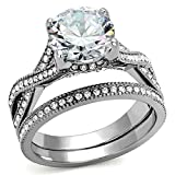 4.50 Ct Round Cut Cz Stainless Steel Women's Infinity Eternity Wedding Ring Set (8)