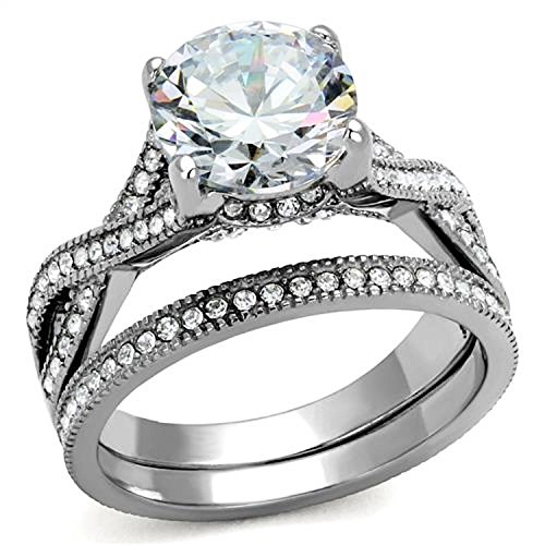 4.50 Ct Round Cut Cz Stainless Steel Women's Infinity Eternity Wedding Ring Set (6) (Pave Twisted Band)