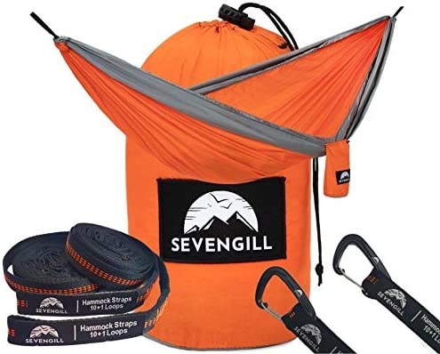 Sevengill Double Camping Hammock with Ten Loop Tree Straps and Aluminum Carabiners. Uses – Backpacking, Hiking, Travel, Indoor and Outdoor. Strong, Comfortable and Easy to Set up