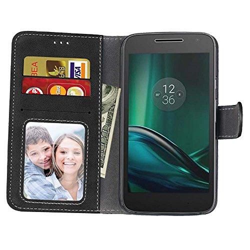 YHUISEN Estilo retro de color sólido Premium PU caja de cuero de la carcasa Flip Folio cubierta protectora de la caja con ranura para tarjeta / soporte para Motorola Moto G4 Play ( Color : Rose ) Black