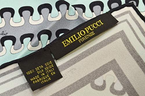 (エミリオプッチ)ポケットチーフ メンズ プッチ柄シルクポケットチーフ(サイズ32×32cm)eep19w146 エメラルドグリーン