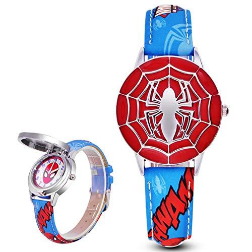 Kids Spiderman Wristwach Boys Quartz Movement Watch Leather Band (Blue) Band Quartz Movement Watch