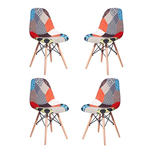HollyHOME Multicolor Upholstered Eames Style Dining Chair