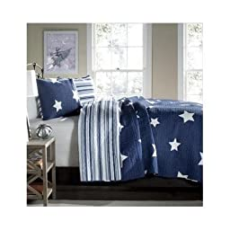 Full/queen Teen Girls Kids Reversible Navy Blue White Stars and Stripes Quilt Bedding Set with Shams Includes Scented Candle Tarts