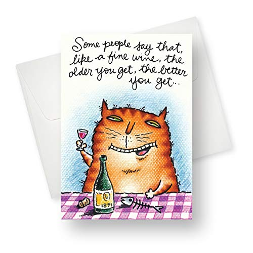 Greeting Birthday Cat Card (Northern Cards - Kitty Connoisseur (Birthday) Premium Quality Greeting Card with Unique Tipsy Cat Design - for Adults - 5.5
