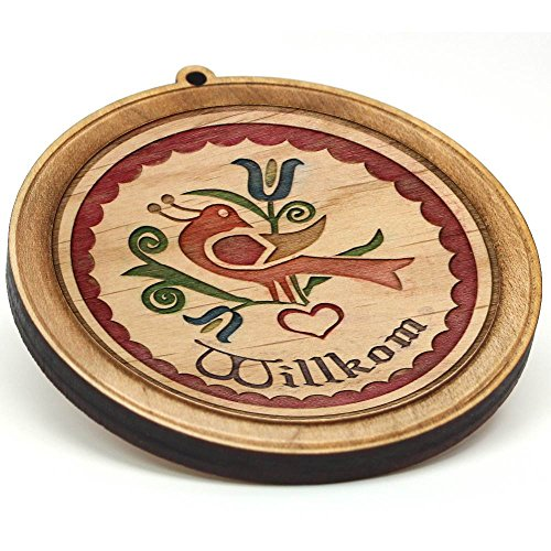 Pennsylvania Hex Dutch Signs - Laser Engraved Premium Hardwood PA Dutch Hex Sign Ornament Welcome Painted