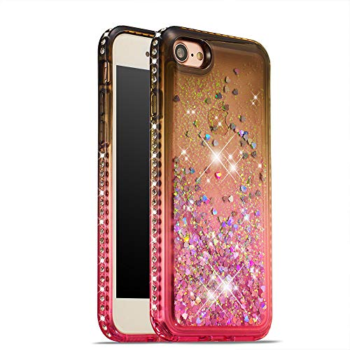 iPhone 8 Case,iPhone 7 Case,UZER 3D Diamong Gradual Change Series Bling Quicksand Moving Floating Luxury Twinkle Glitter Shining Sparkle Slim Thin TPU Bumper Liquid Case for iPhone 8/ iPhone 7 4.7
