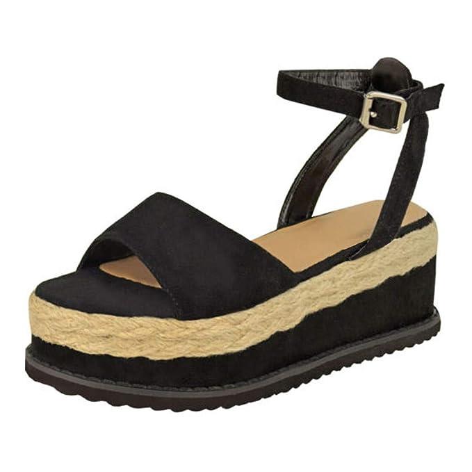 Summer Womens Large Size Wedge Sandals, Ladies Belt Buckle ...