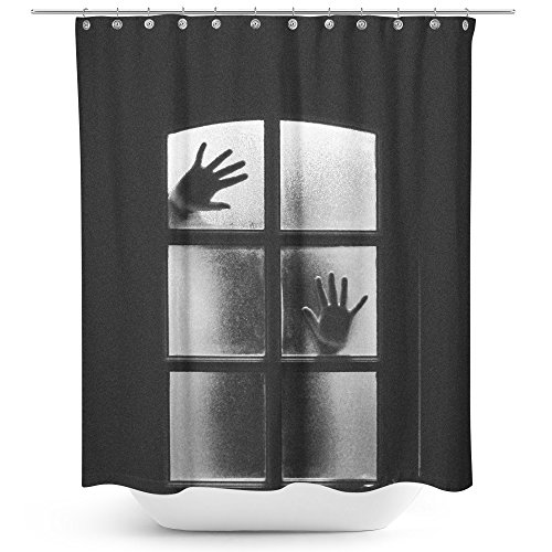 Westlake Art   Black And   Fabric Printed Shower Curtain   Picture Photography Waterproof Mildew Resistant Hook Bathroom   Machine Washable 71X74 Inch  9B0f0