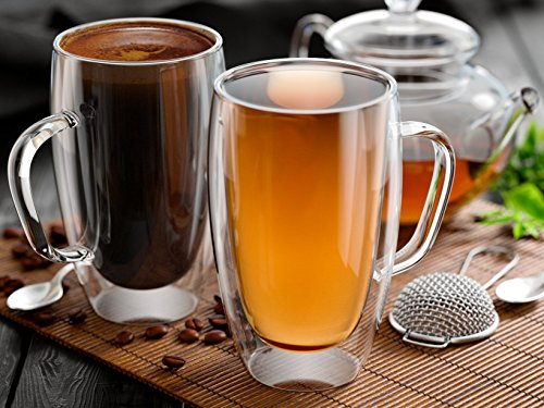 15 Ounce Glass (Glass Coffee or Tea Mugs, 15oz or 450ml, Double walled, Set of 2, Insulated, Tea, cappuccino, latte cups )