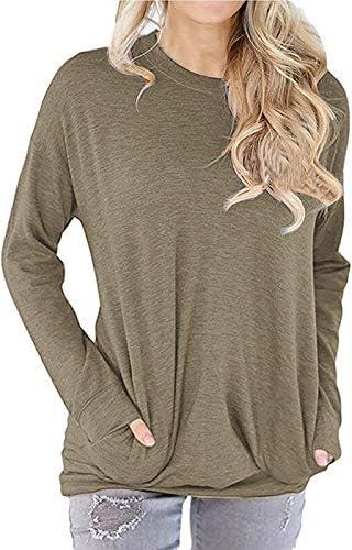LYXIOF Women Round Neck Long Sleeve Sweatshirt Pocket Pullover Loose Shirts Tunic Tops
