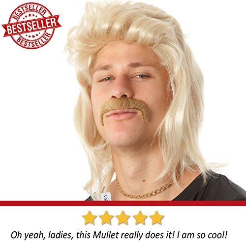 ALLAURA Blonde Mullet Wig Mustache - Hillbilly White Trash Redneck Costume 80s Mens by ALLAURA (Image #2)'