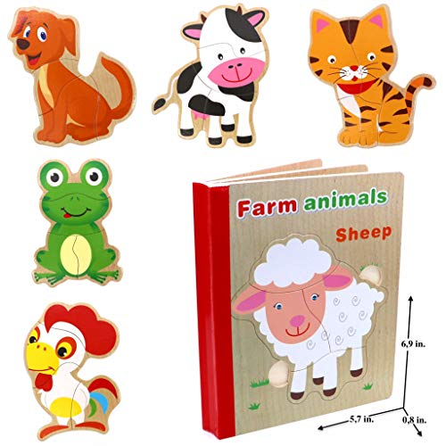 Wooden Books Puzzle - Farm Animals (Sheep) | Wooden Books - 6 Collapsible Pages of Various Shapes and Colors |Developing of Fine Motor Skills, Memory Toys for Kids|Learning Shape, Color and Sorting
